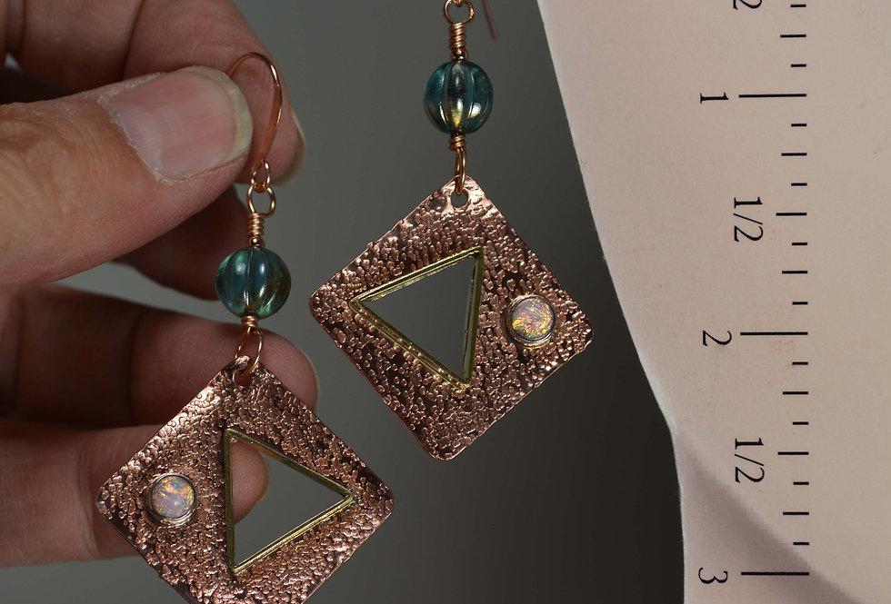 Geometric Celsi Luster copper earrings