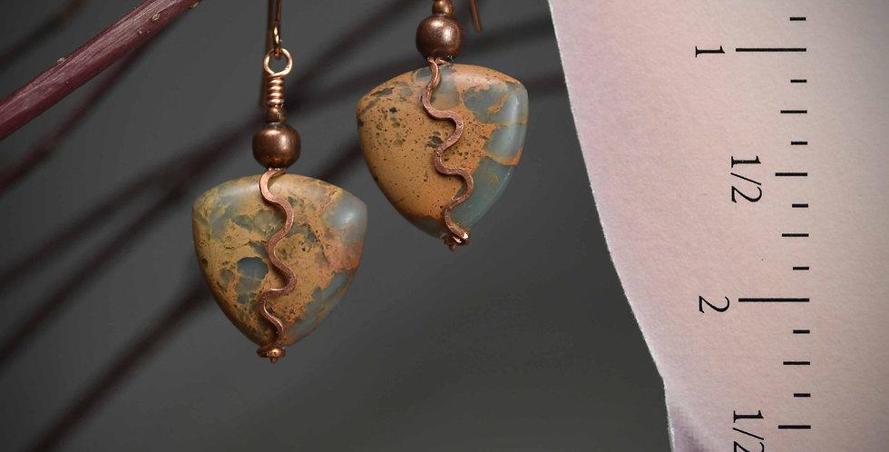 Hook Earrings .. Terra Jasper Copper Waves