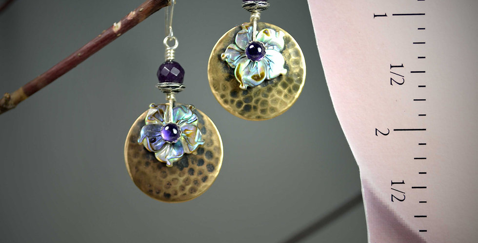 Hook earrings .. Abalone Dogwood Ami .. Reserved for Betsy