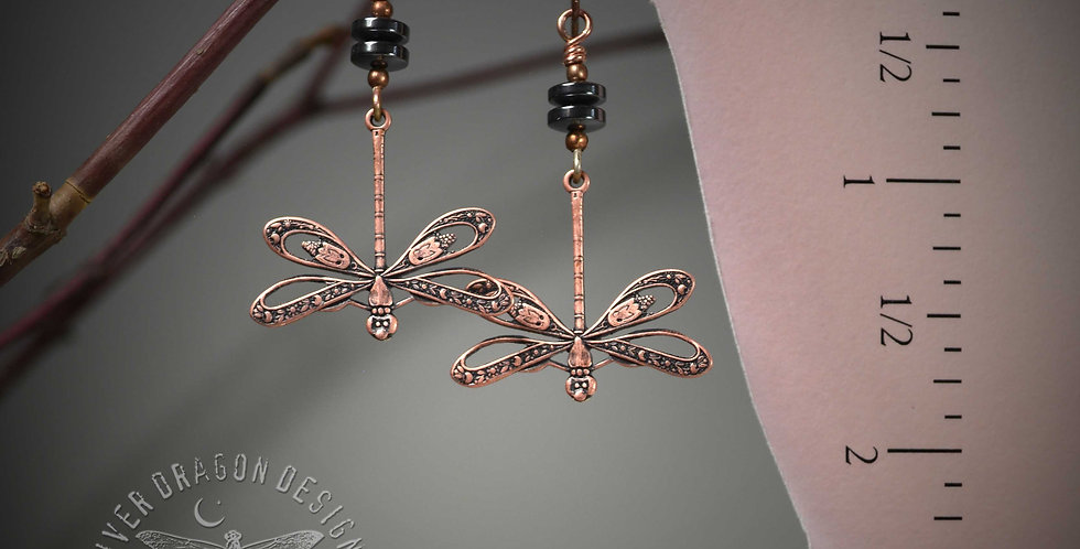 Copper Dragon .. hook earrings