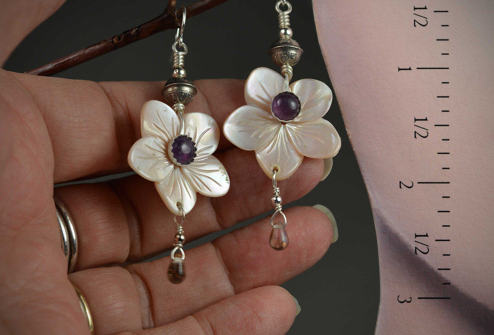 Hook Earrings .. Pink Shell Dogwood Amethyst