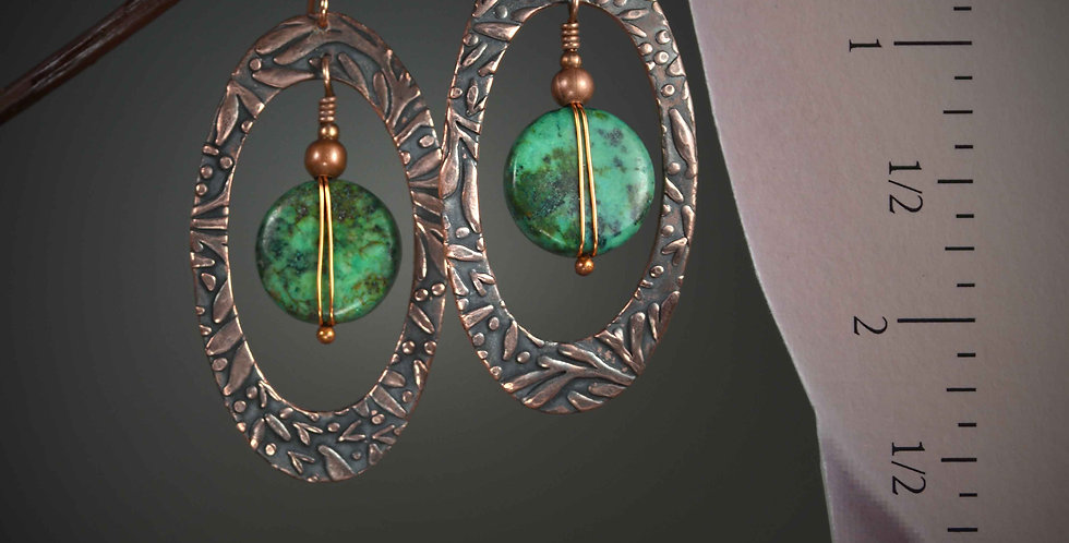 Hook Earrings .. Retro Patterned Copper African Turquoise