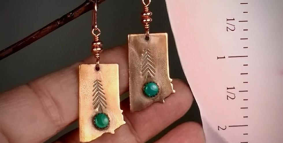 #406 Copper Montana shape earrings