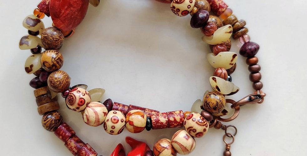 Red Bird Tribal .. 3 Wrap Bracelet