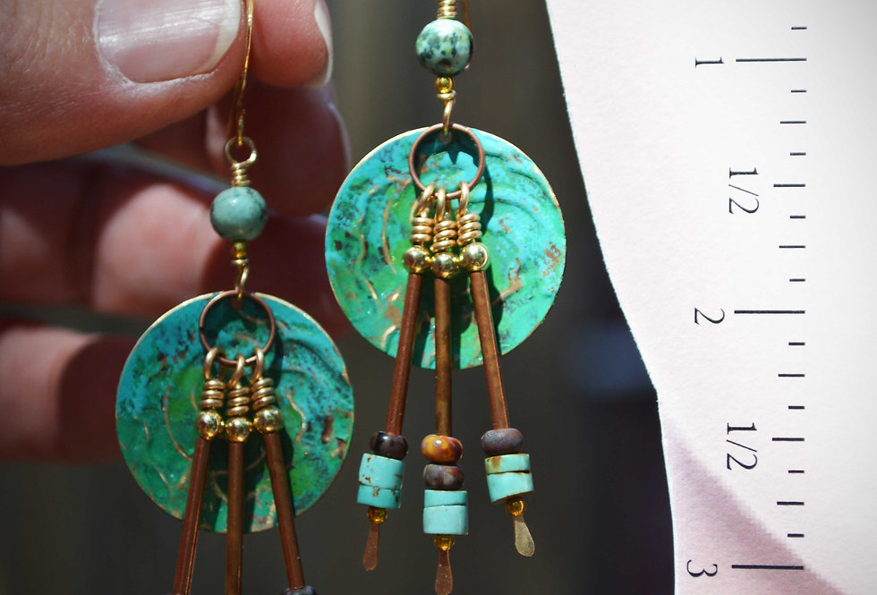 Hook Earrings .. Tribal Sea Green Pool