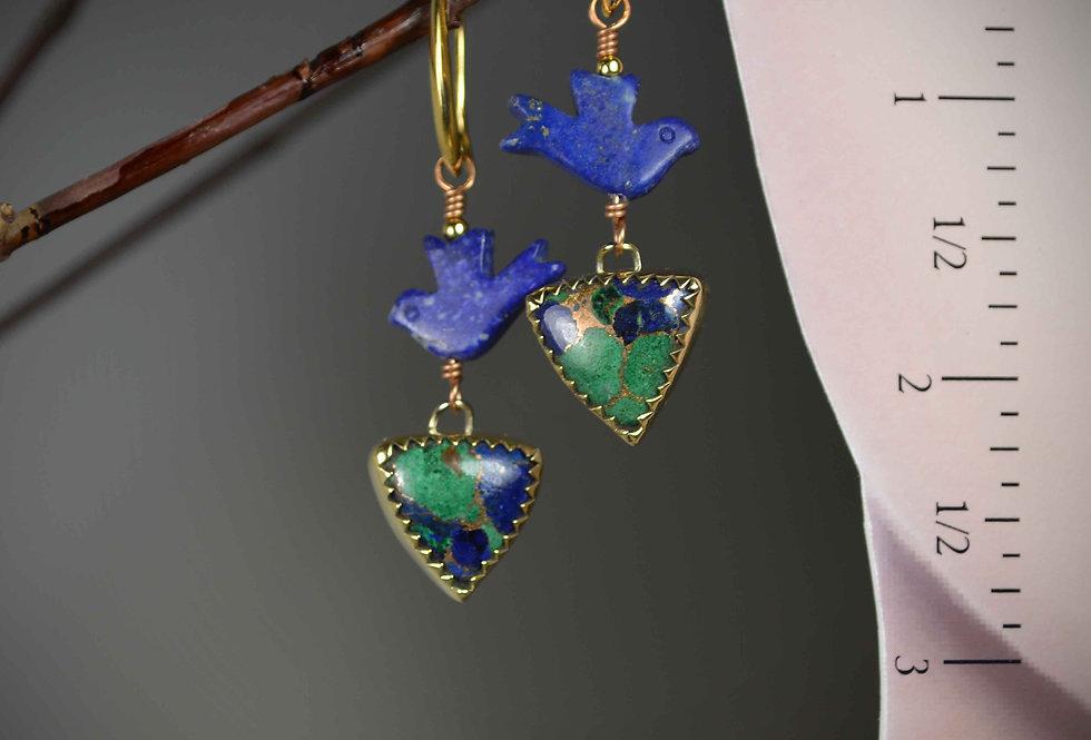 Hook Earrings .. Blue Birds