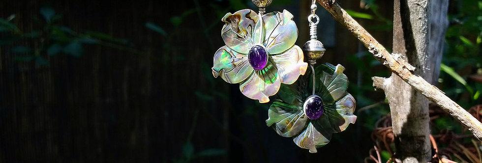 Hook Earrings .. Mon Ami .. Carved Abalone Amethyst