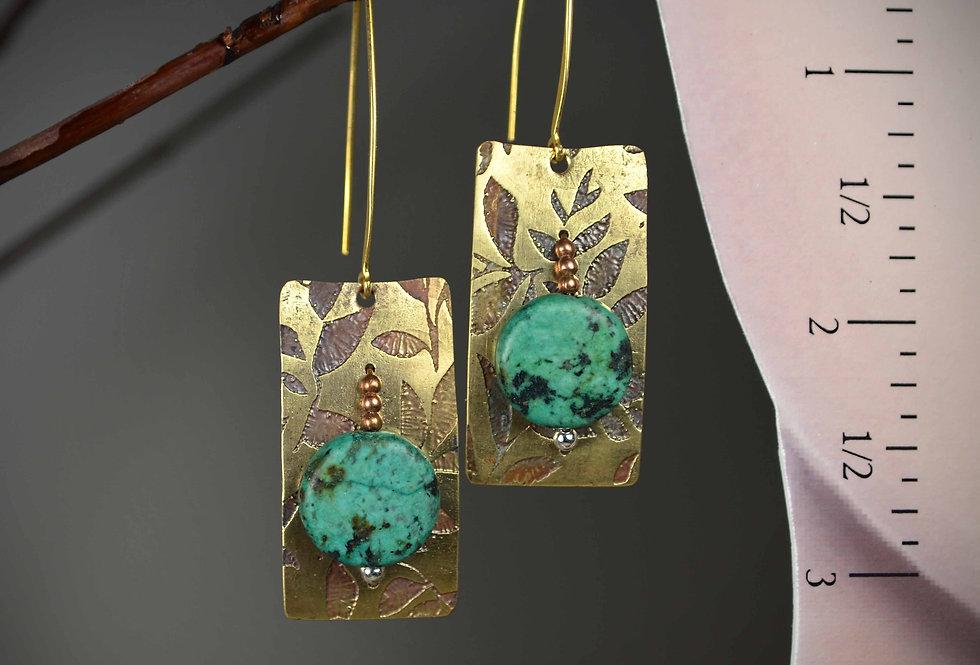 Hook Earrings .. Turquoise Spring Garden
