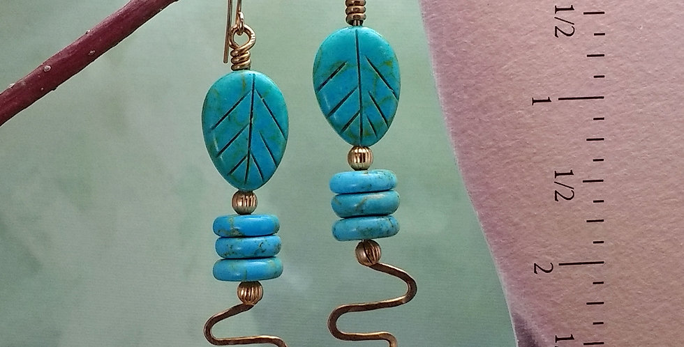 Turquoise Leaf Copper Coil