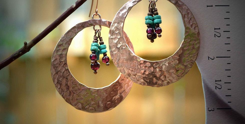Hook Earrings .. Gypsy Garnet Hammered Copper Hoops