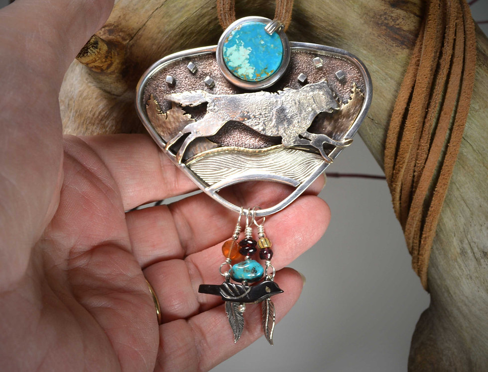 Blue Moon Wolf Spirit Necklace .. Special Request