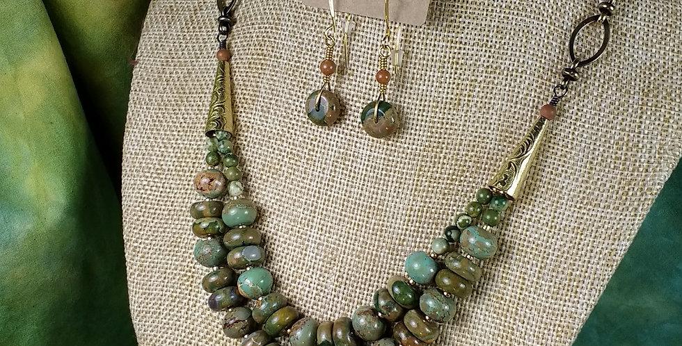 Necklace Earring Set .. Rain Forest Rhyolite
