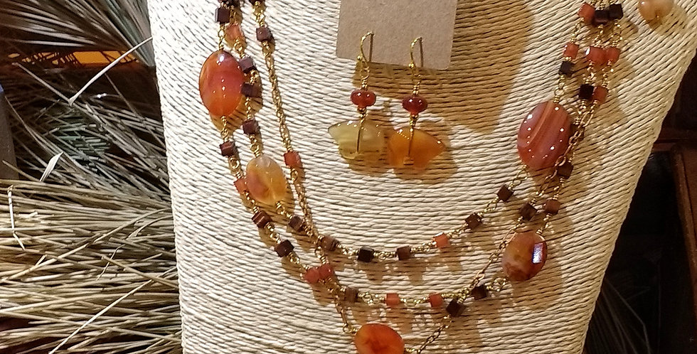 Carnelian Red Tiger Eye necklace set