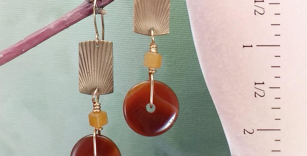 Carnelian Discs .. hook earrings