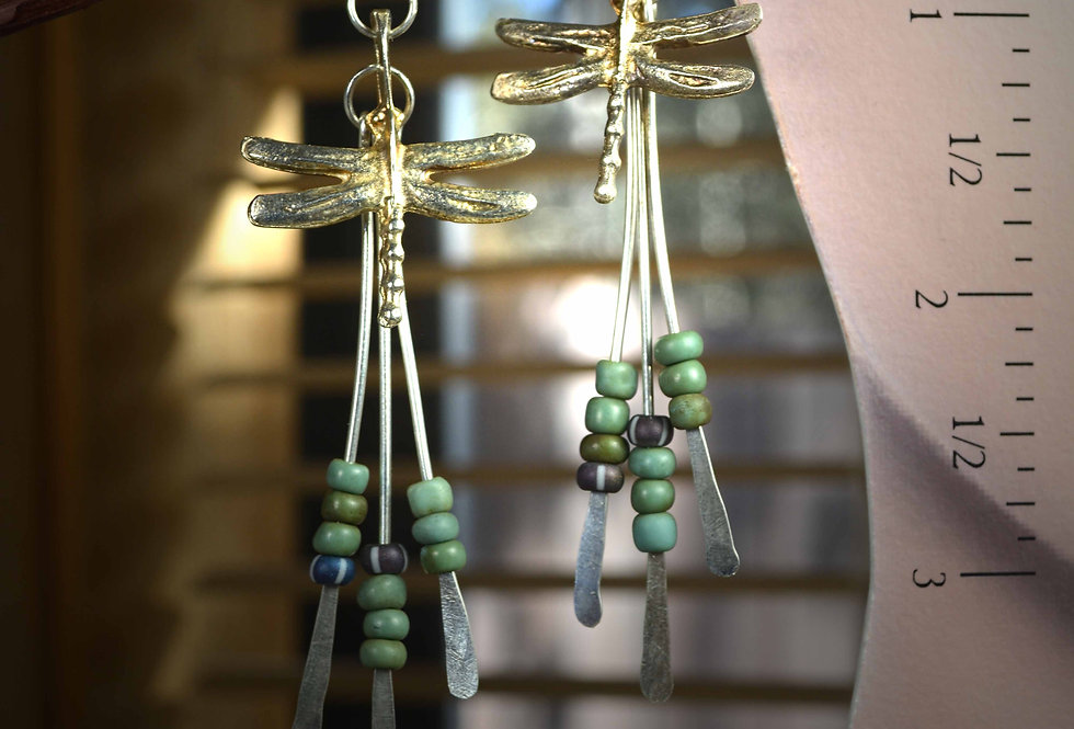 Hook Earrings .. Mykonos Dragonflies Silver Water Dancers