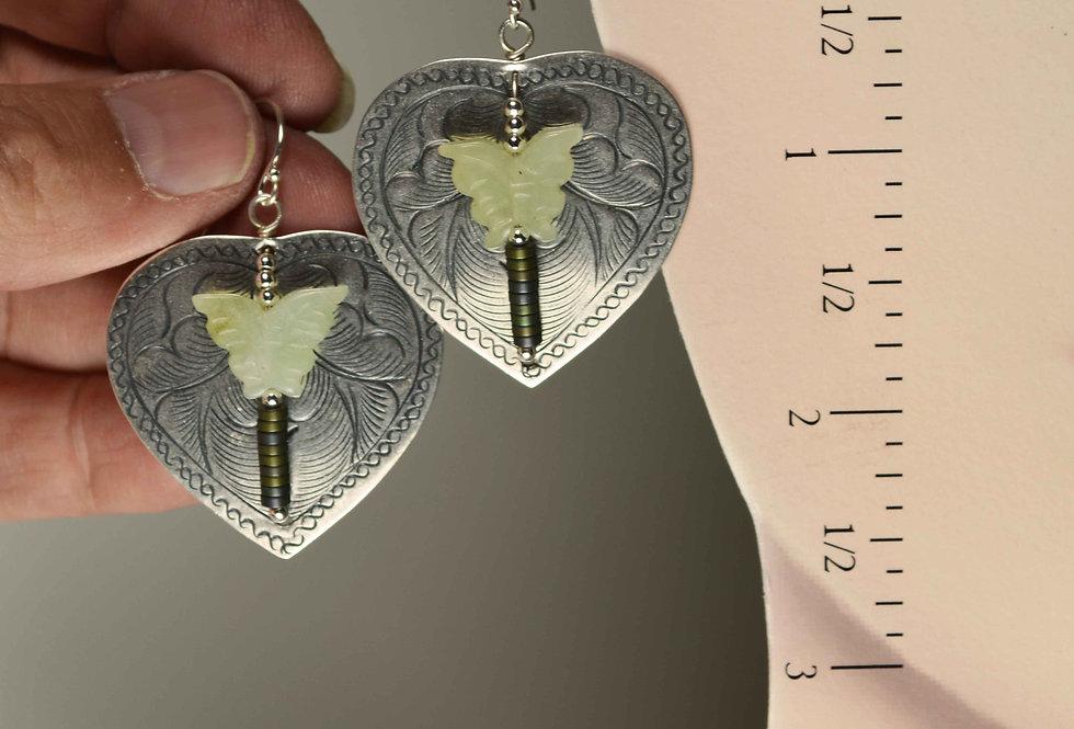 Hook Earrings .. Hill Tribe Jade Butterflies