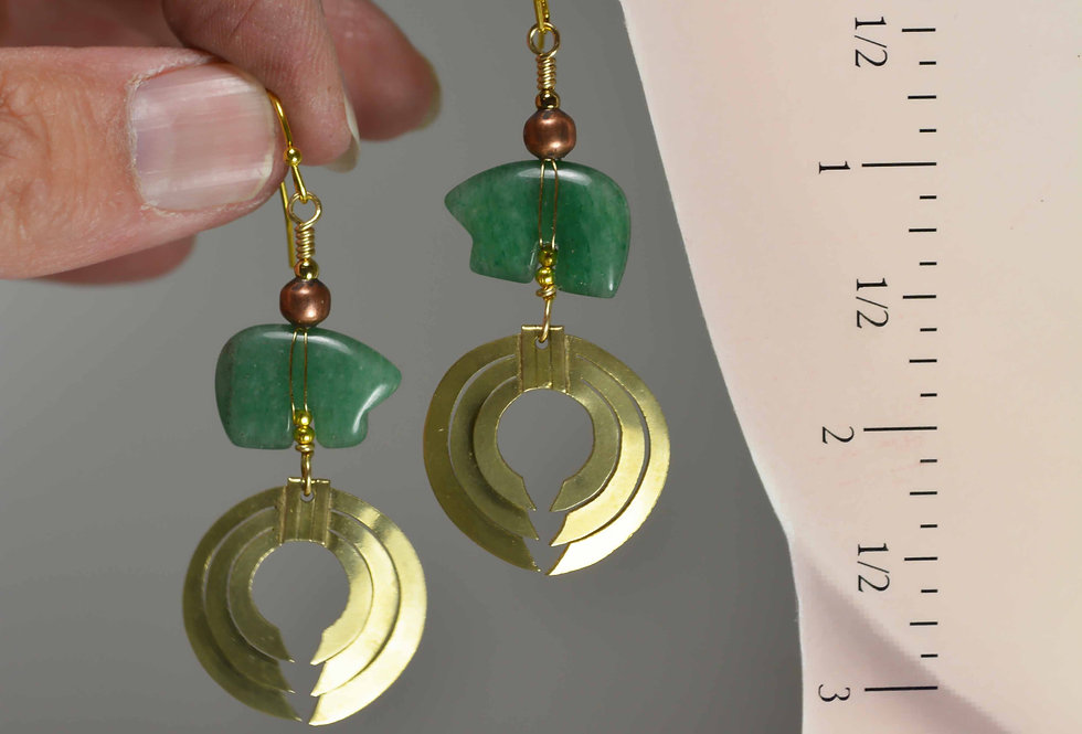 Hook Earrings .. Green Aventurine Zuni Bears