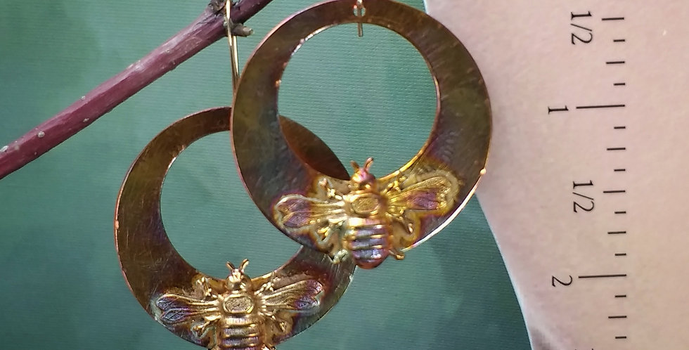 Coppery Fire Bees .. hook earrings