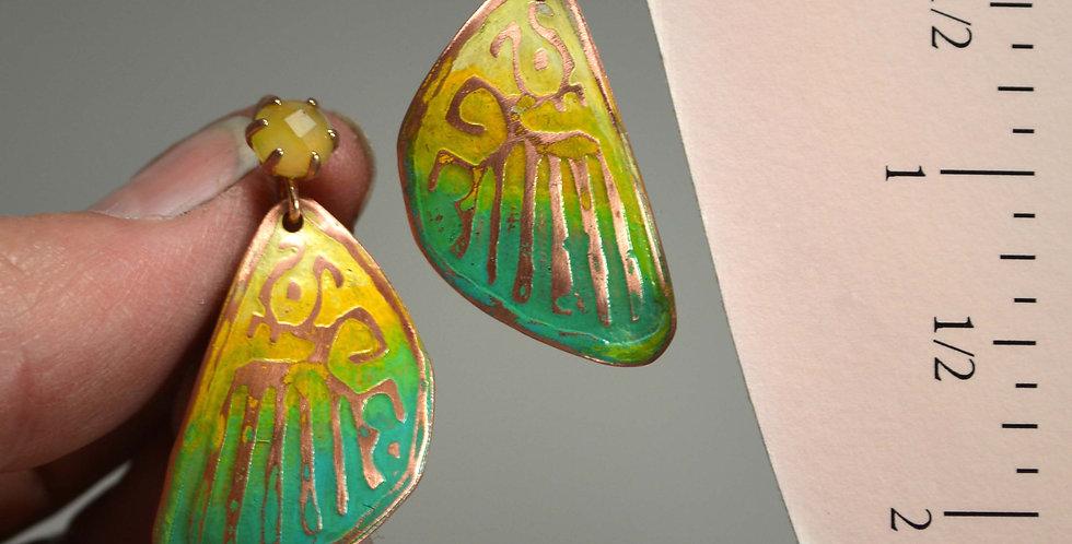 Hook Earrings .. Butterfly Series, Spring Greens