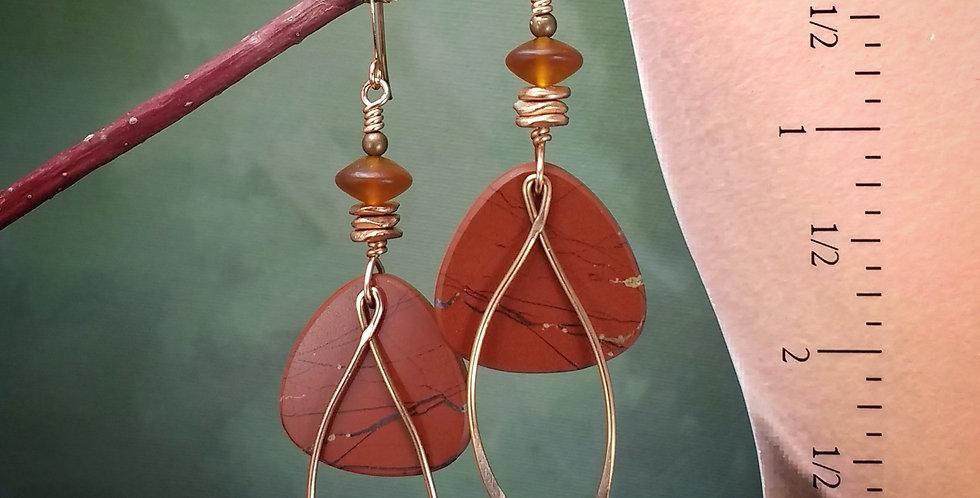 Red River Jasper Wishbone .. hook earrings