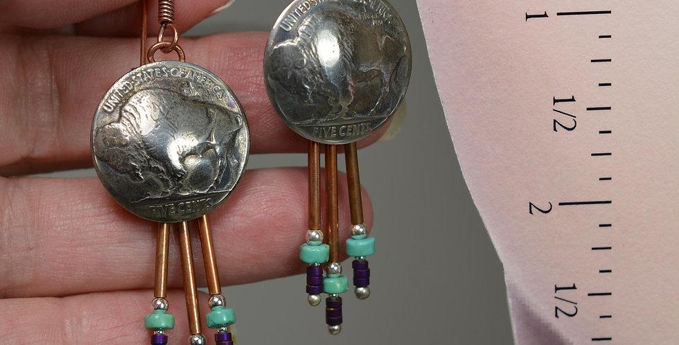 1935 Buffalo Nickle hook earrings