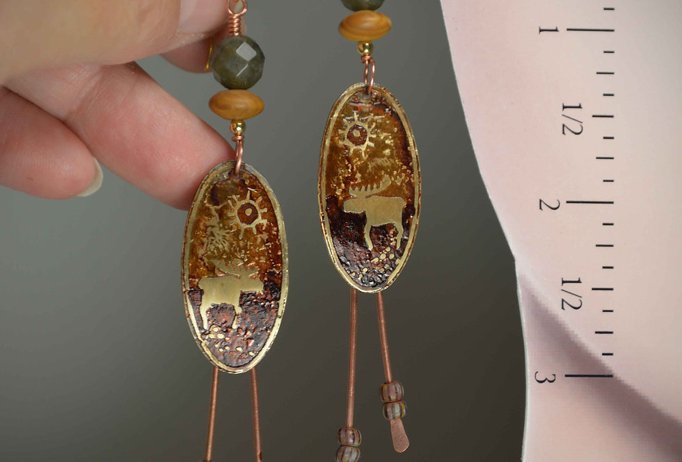 Hook earrings .. Ancient People Series .. Moose