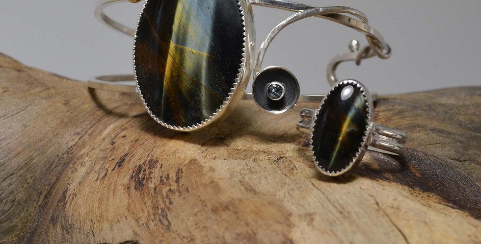 Cuff Bracelet .. Hawks Eye