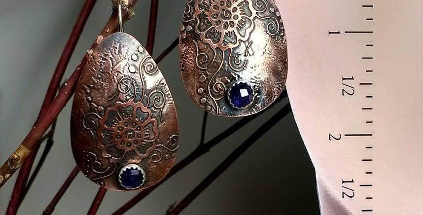 Hook earrings .. Mehendi floral Iolite