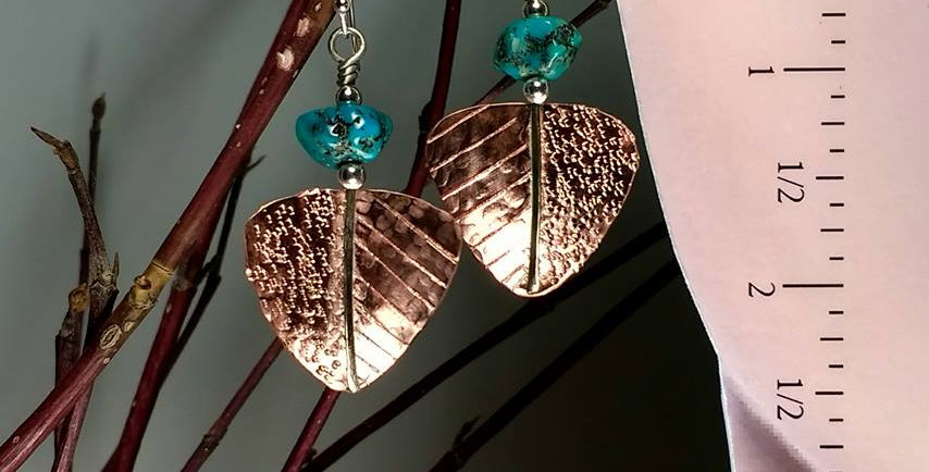 Hook earrings .. Turquoise Nuggets Copper leaves