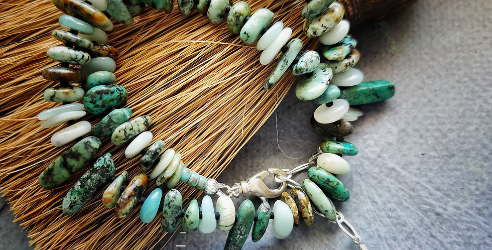Two Wrap African Turquoise Amazonite Mix