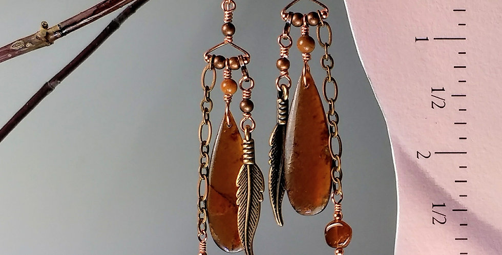 Free Spirit .. Garnet & Copper hook earrings