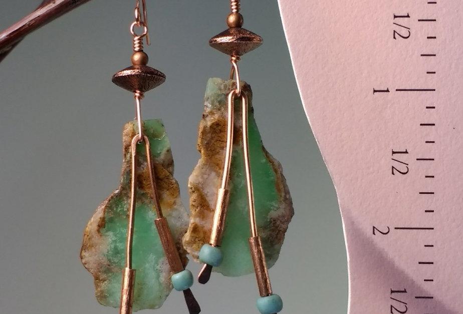 Hook Earrings .. Australian Chrysoprase Slabs