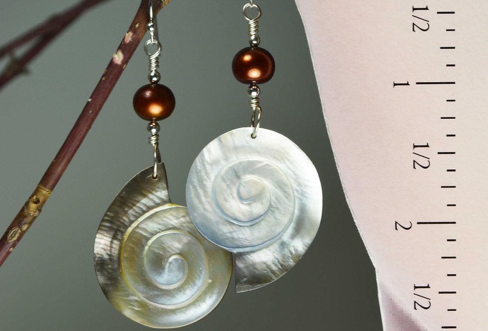 Hook earrings .. carved mother of pearl