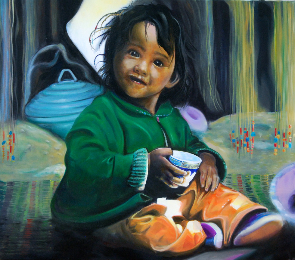 Kind 2014 Oil on Canvas after a foto from Olivier Föllmi