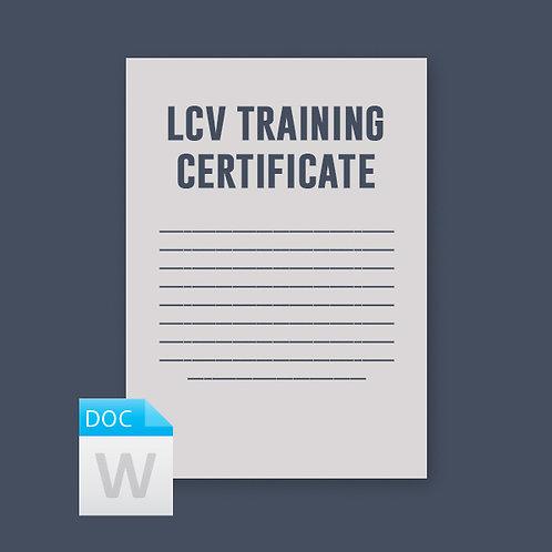 Longer Combination Vehicle Training Certificate