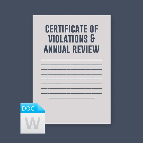 Certificate of Violations & Annual Review
