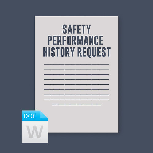 Safety Performance History Request