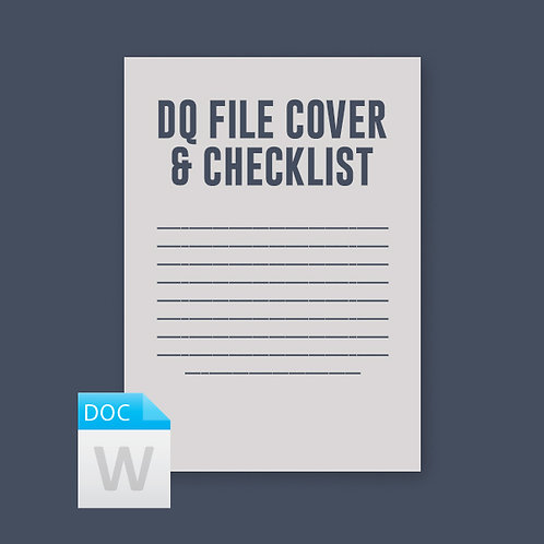 Driver File Cover Sheet & Checklist