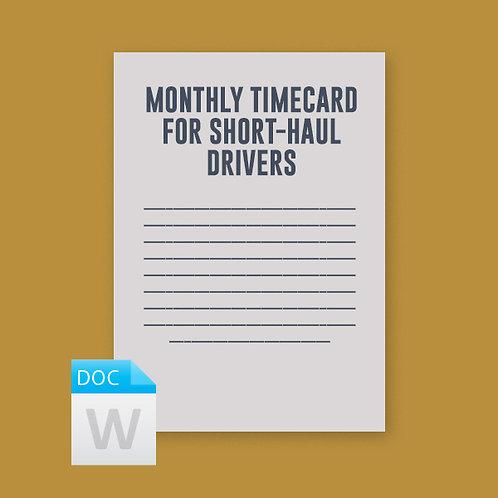 Monthly Timecard for Short-Haul Drivers