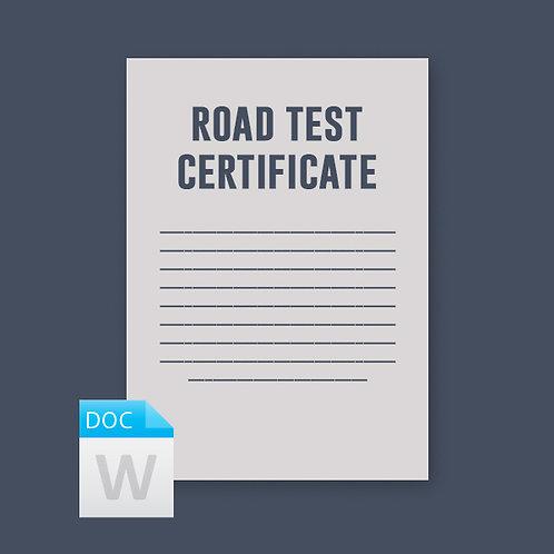 Road Test Certificate