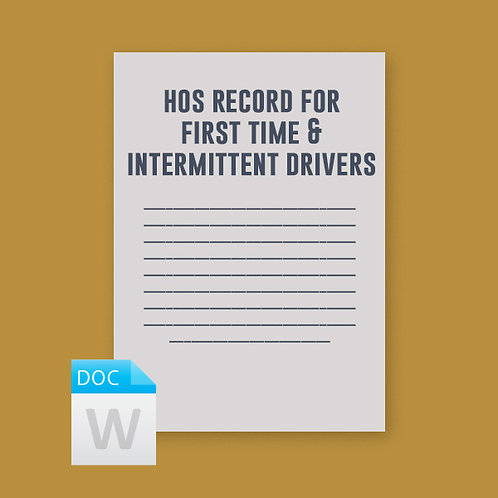 HOS Record for First Time or Intermittent Drivers