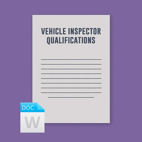 Vehicle Inspector Qualification Certificate