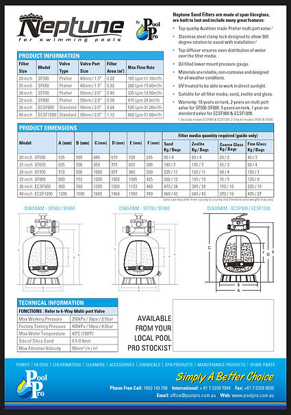 Sand Pool Filter specifications