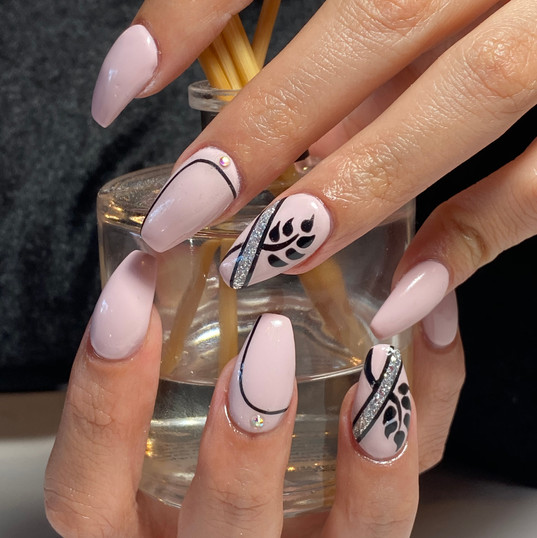 gel extension with painted design