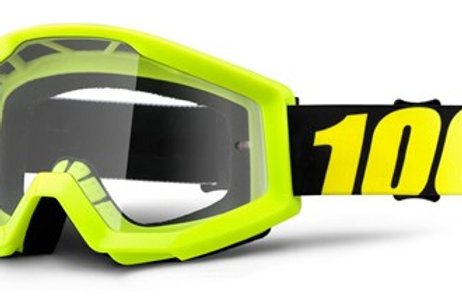 100% Strata Moto Goggle Neon Yellow - Clear Lens