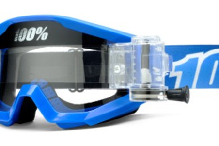100% Strata Moto Goggle With SVS Roll-Off System - Blue Lagoon - Clear Lens