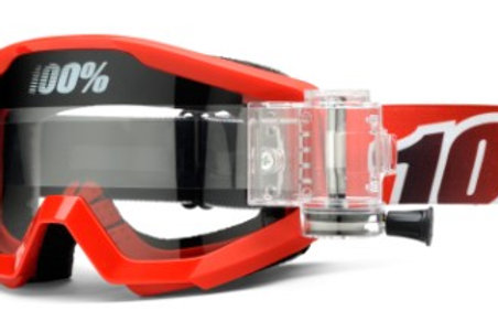 100% Strata Moto Goggle With SVS Roll-Off System - Fire Red - Clear Lens