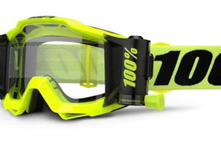 100% Accuri Forecast Moto Goggle Fluoro Yellow - Clear Lens w/45mm Film System