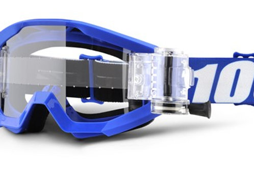 100% Strata Moto Goggle With SVS Roll-Off System - Nation - Clear Lens