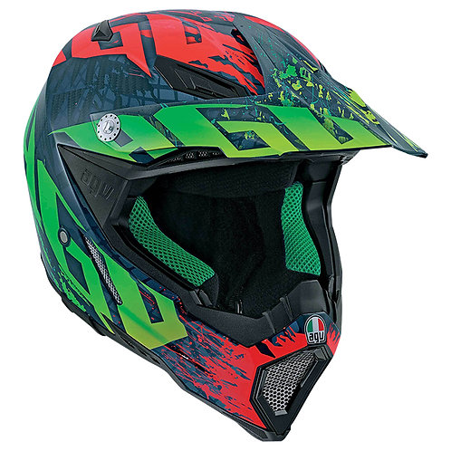 AGV AX-8 Carbon Offroad Helmet - No Hander Red/Green